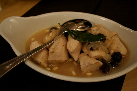 Chicken with raisins and pine nuts