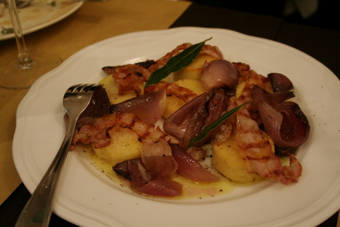 Polenta, red onions and panchetta