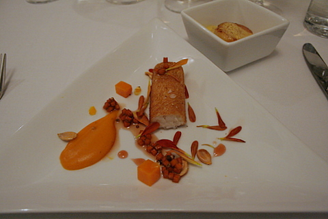 Second starter - lemon sole, pumpkin and scallop
