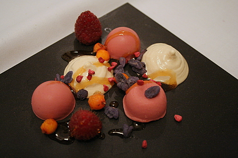 First dessert with sea buckthorn and autumn raspberries