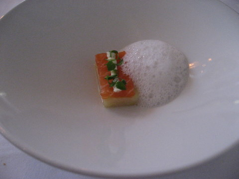 The amuse of salmon and potatoes