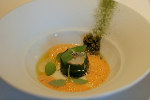Langoustine cooked on a low temperature with homemade tofu, gel of sushi vinegar and green tea gomasio