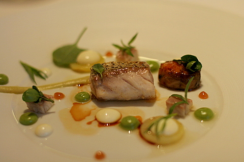 Sea bass with smoked and caramelized eel, verbena-miso ninaigrette